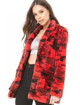 Faux Fur Camo Coat by Forever 21