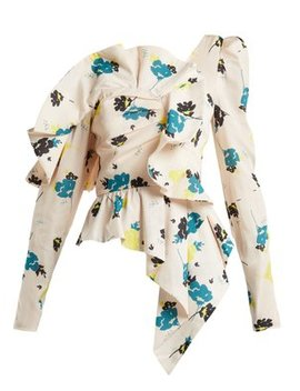 Asymmetric Graphic Floral Print Top by Matches Fashion
