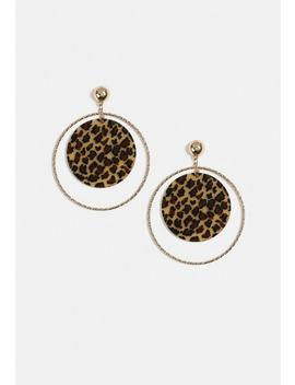 Gold Look Leopard Print Hoop Earrings by Missguided