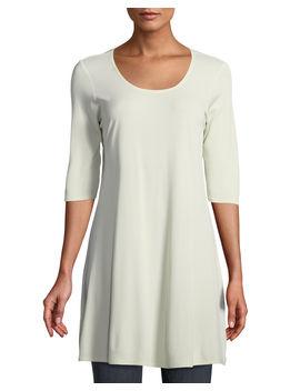 Half Sleeve Silk Jersey Tunic, Petite by Neiman Marcus