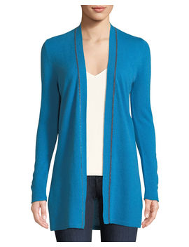 Chain Trim Cashmere Duster Cardigan by Neiman Marcus Cashmere Collection