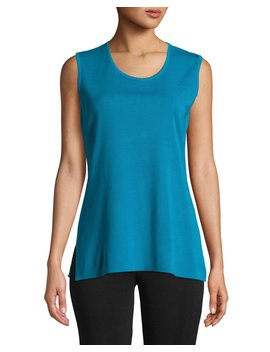 Round Neck Soft Tank, Peacock Blue by Misook