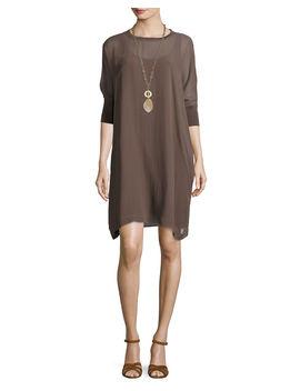 Silk Georgette Round Neck Shift Dress, Petite by Eileen Fisher