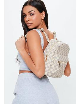 Cream Checkered Mini Backpack by Missguided