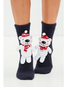 Black 3 D Polar Bear Boxed Socks by Missguided