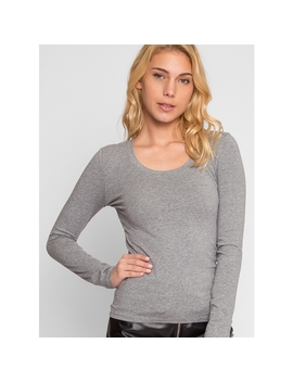 Seal Up Long Sleeve Tee In Heather Gray by Wet Seal