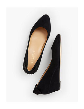 Laney Back Bow Wedge   Suede by Talbots