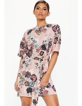 Pink Tie Waist Floral T Shirt Dress by Missguided