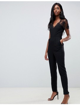 Asos Design Tall Jumpsuit With Lace Detail & Tapered Leg by Asos Design