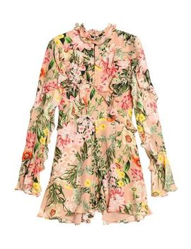 Ruffled Floral Print Silk Crepe De Chine Playsuit by Nicholas