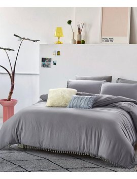 Gray Relaxed Fringe Washed Comforter Set by California Design Den