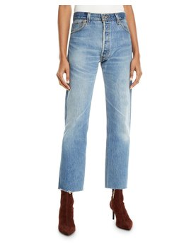 High Rise Whiskered Stovepipe Jeans With Raw Edge Hem by Re/Done