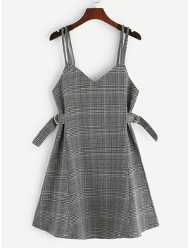 Houndstooth Zip Back Cami Dress by Romwe