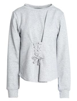 Isabella Lace Up French Terry And Cotton Blend Poplin Sweatshirt by W118 By Walter Baker