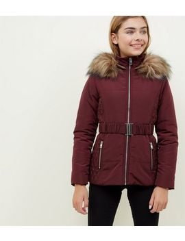 Girls Burgundy Faux Fur Trim Belted Puffer Jacket by New Look