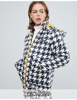 Ellesse Padded Jacket With Contrast Lining In Houndstooth by Ellesse
