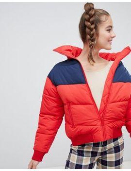 Monki Short Puffer Jacket In Red by Monki