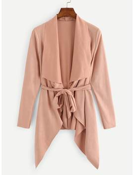 Plus Open Front Waterfall Collar Coat by Sheinside