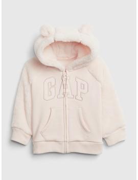 Logo Sherpa Hoodie Sweatshirt by Gap