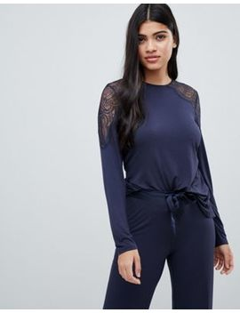 B By Ted Baker Signature Jersey & Lace Long Sleeve Top by Ted Baker