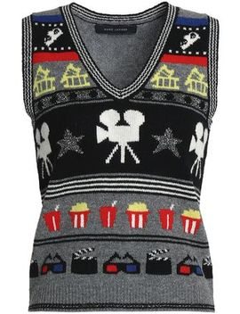Metallic Intarsia Knit Sweater by Marc Jacobs