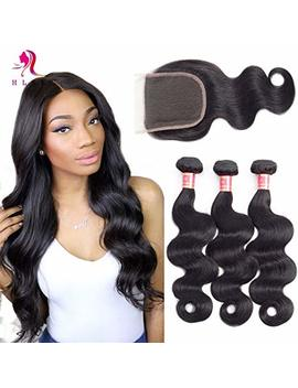 Hlsk Brazilian Body Wave Virgin Hair 3 Bundles With Closure Unprocessed 100 Percents Human Hair Bundles With 4x4 Lace Closure (100g+/ 5g)/Pc(16 18 20 +14 Free Part Closure) by Hlsk