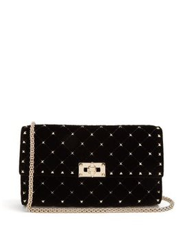 Rockstud Spike Quilted Velvet Clutch by Matches Fashion