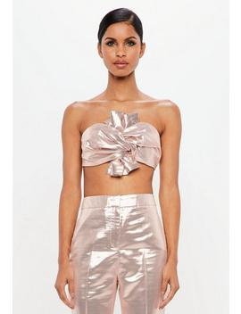 Peace + Love Pink Metallic Bow Detail Crop Top by Missguided