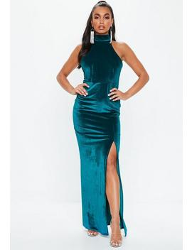 Teal Velvet Choker Maxi Dress by Missguided