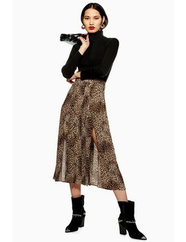 Leopard Print Box Pleat Midi Skirt by Topshop