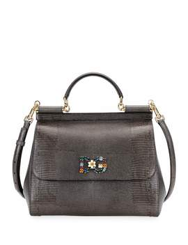 Sicily Large Plus Stampa Iguana Top Handle Bag by Dolce & Gabbana
