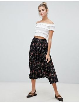Influence Pleated Midi Skirt In Floral And Star Print by Midi Skirt