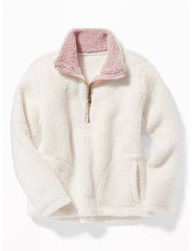 Sherpa 1/4 Zip Popover For Girls by Old Navy
