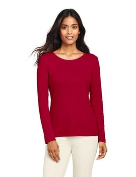 Women's Shaped Long Sleeve T Shirt Cotton Crewneck by Lands' End