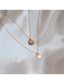 Soleil Necklace | Minimal Hammered Disc | Ethical Vegan Jewellery by Etsy