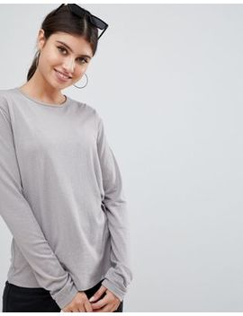 Asos Design Long Sleeve Crew Neck In Textured Cotton In Gray by Asos Design