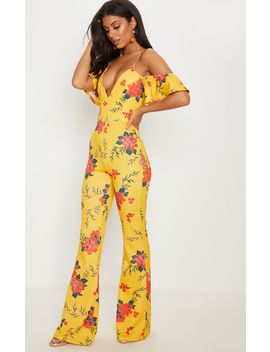 Yellow Floral Printed Cold Shoulder Jumpsuit by Prettylittlething