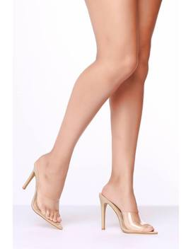 Nude Purspex Heeled Mules by I Saw It First