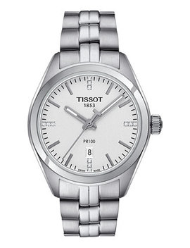 Women's Swiss Pr100 Diamond Accent Stainless Steel Bracelet Watch 33mm T1012101103600 by Tissot