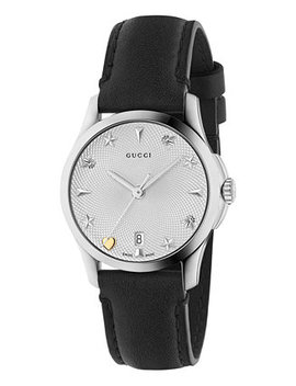 Women's Swiss G Timeless Black Leather Strap Watch 27mm by Gucci