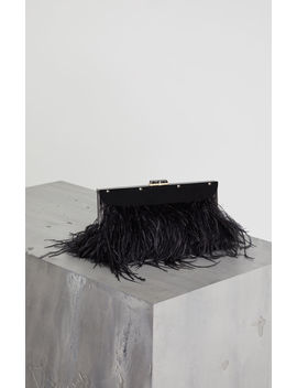 Catarina Feather Trimmed Clutch by Bcbgmaxazria