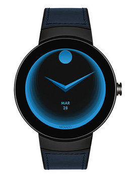 Unisex Swiss Connected Black Silicone & Navy Leather Strap Smart Watch 46.5mm by Movado