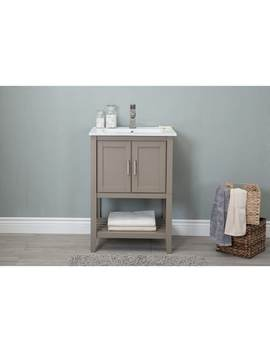 24in Bathroom Vanity In Gold Gray With Ceramic Top by Legion Furniture