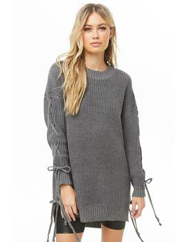 Ribbed Lace Up High Low Sweater by Forever 21