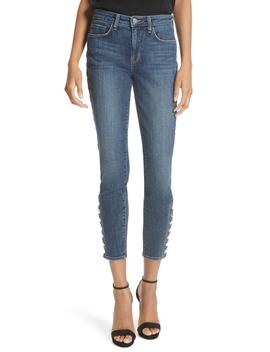 Piper Button Hem Skinny Jeans by L'agence