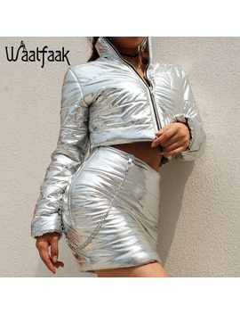Waatfaak Warm Winter Coat Women 2018 Fashion Cotton Padded Coats Turtleneck Zipper Silver Cropped Slim Pu Leather Puffer Jacket by Waatfaak