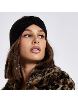 Black Knit Twist Headband by River Island