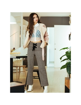 Smooth Tweed Lace Up Pants by Wet Seal