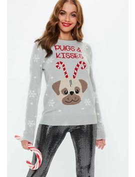 Gray Pugs And Kisses Knitted Christmas Sweater by Missguided
