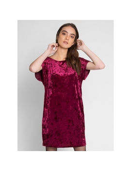 Stand By Me Velvet Dress In Burgundy by Wet Seal
